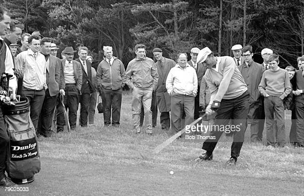 Golf 1968 British Open Golf Championships at Carnoustie A picture of Roberto de Vicenzo of Argentina playing a shot