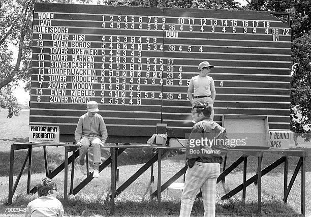 Golf 1970 US Open Hazeltine A picture of the scoreboard showing Great Britain's Tony Jacklin in the lead