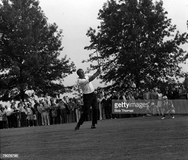 Golf 1971 Ryder Cup St Louis USA USA's Arnold Palmer driving watched by a large gallery