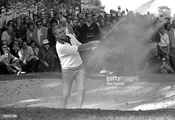 Golf 1971 World Match play A picture of the champion Arnold Palmer of the USA playing a bunker shot