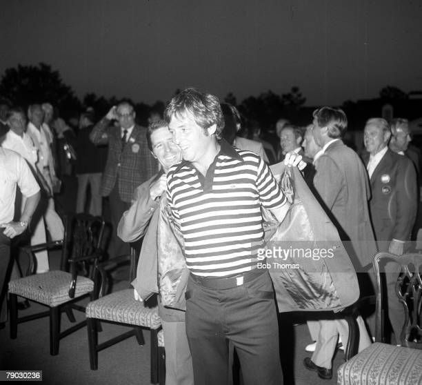 Golf 1979 US Masters A picture of the winner Fuzzy Zoeller of the USA as he receives the green jacket from Gary Player of South Africa