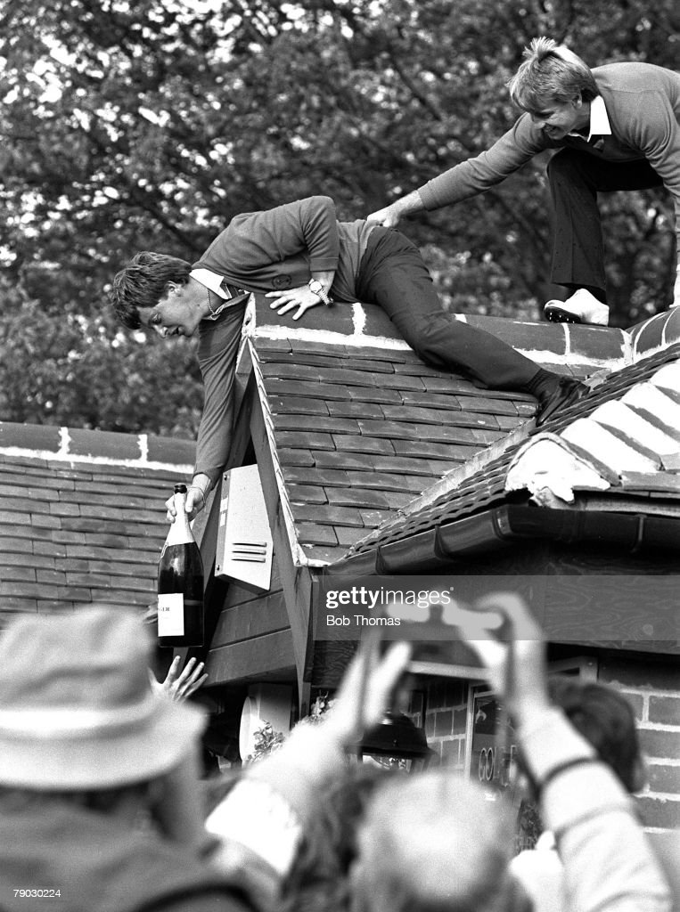 Golf, 1983 Ryder Cup at Belfry, A picture of Great Britain+s and Europe+s Ian Woosnam on the roof following his team's victory