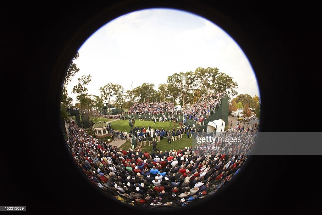 Fisheye view of action during Friday Foursomes at Medinah CC. Fred Vuich F23 )