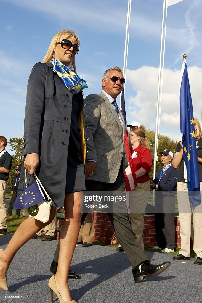View of Darren Clarke and his wife, Alison Campbell during opening ceremony at Medinah CC. Robert Beck F5 )