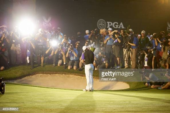 96th PGA Championship View from rear of Rory McIlroy victorious with Rodman Wanamaker trophy after winning tournament on Sunday at Valhalla GC...