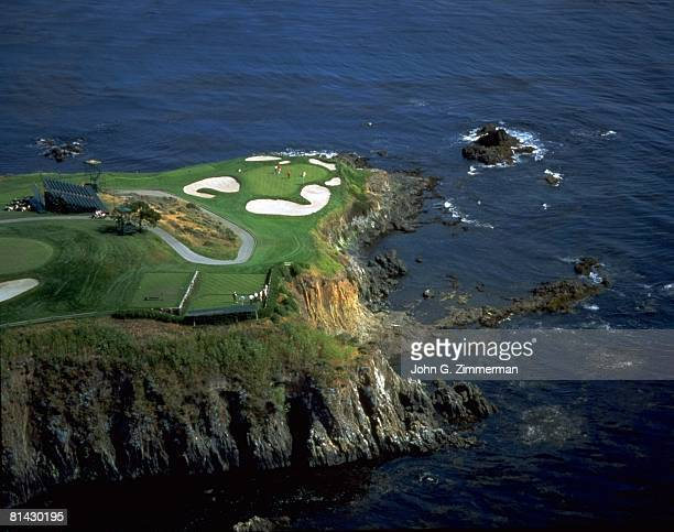 Golf Aerial scenic view of golf course 7th hole Pebble Beach CA 5/3/1992