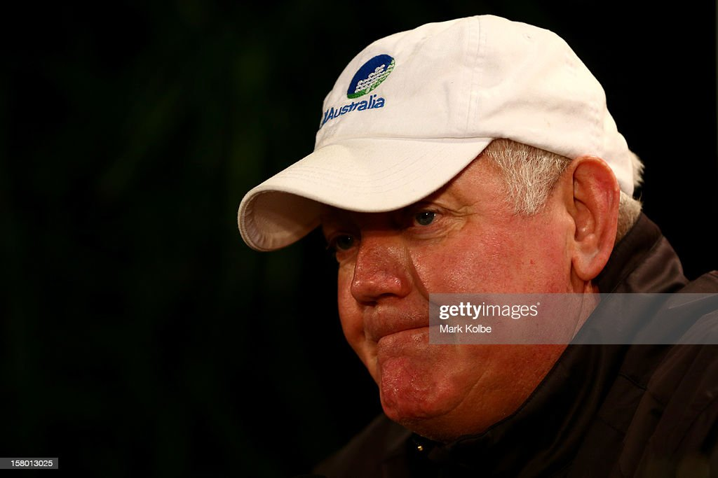 Golf Australia Director of Tournaments, Trevor Herden, speaks to the media during an update on round four of the 2012 Australian Open after play was suspended due to high winds at The Lakes Golf Club on December 9, 2012 in Sydney, Australia.