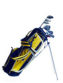 Golf bag with clubs on white background