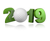 Golf ball 2019 Design with a White Background