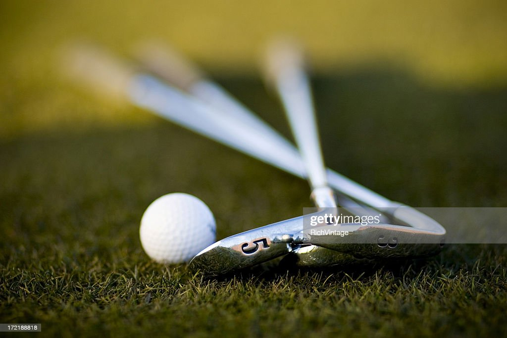 Golf Ball and Irons : Stock Photo