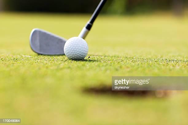 Pallina da Golf e bastone sul campo.