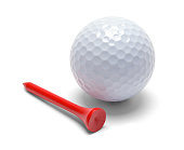 Golf Ball and Red Tee Isolated on White.