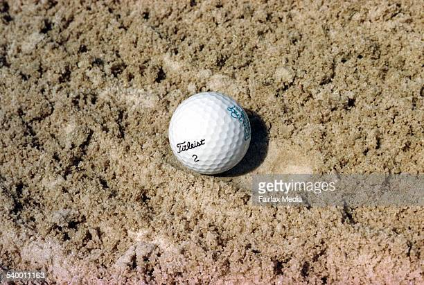 A golf ball lies in a bunker on a Brisbane golf course Queensland 14 September 1998 AFR Picture by ROBERT ROUGH