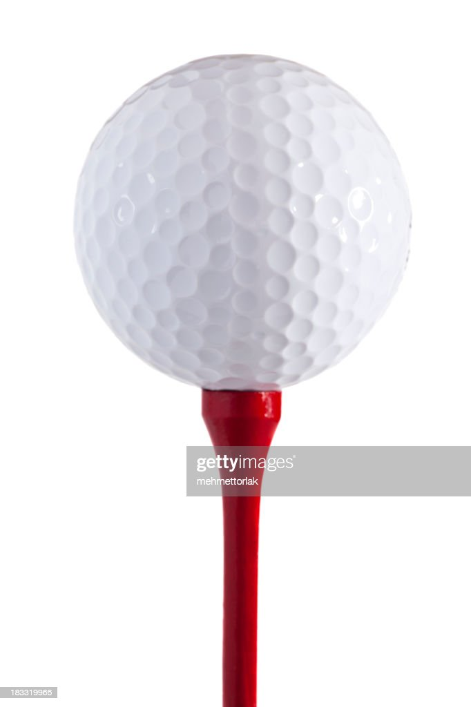 Golf Ball on the red tee