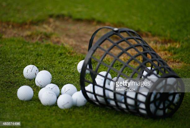 Golf balls are seen on the range during a practice round prior to the 2015 PGA Championship at Whistling Straits on on August 10 2015 in Sheboygan...