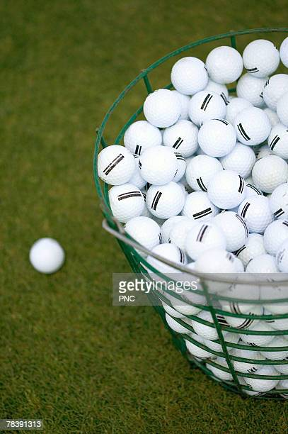 Golf balls in basket