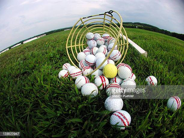 Golf balls on field