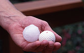 Golf ball-sized hail stone