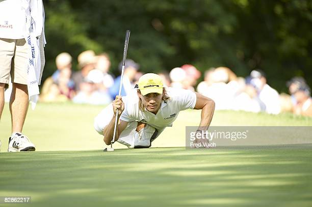 BMW Championship Camilo Villegas lining up putt during Sunday play at Bellerive CC FedEx Cup St Louis MO 9/7/2008 CREDIT Fred Vuich