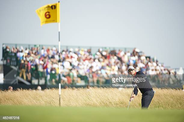 British Open Adam Scott in action putt on No 6 green during Friday play at Royal Liverpool GC Hoylake England 7/18/2014 CREDIT Thomas Lovelock