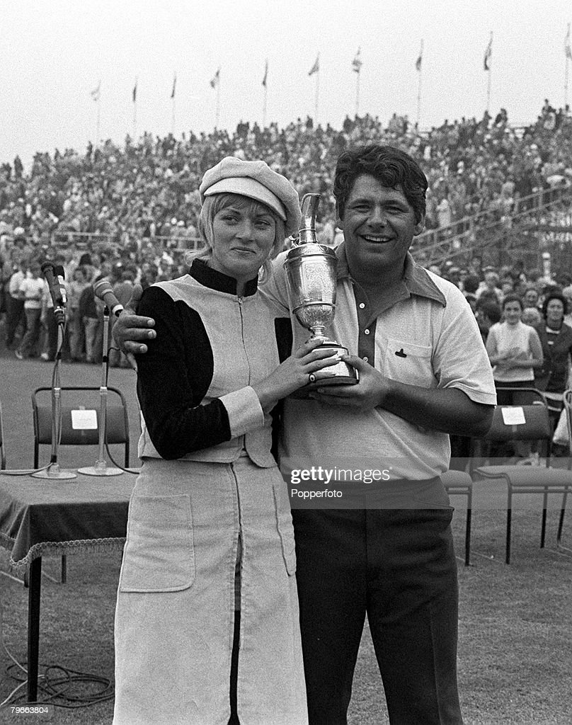 Golf, British Open Championship, Southport, England, 11th July 1971, American golfer Lee Trevino holds the Claret Jug trophy as he stands with his wife Claudia after winning the tournament at Royal Birkdale
