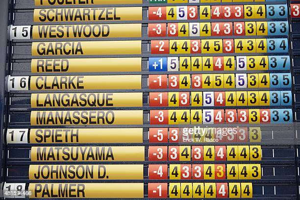 British Open Closeup of leaderboard during Thursday play at Old Course St Andrews Scotland 7/16/2015 CREDIT Erick W Rasco