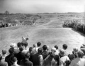 Golf British Open Golf Championships Troon Scotland USAs legendary golfer Arnold Palmer is pictured on his backswing poised to hit his tee shot...