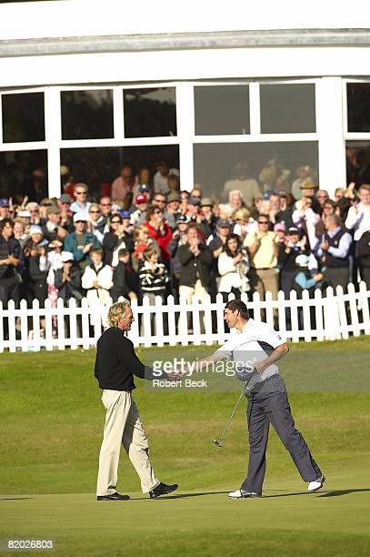 British Open Greg Norman and Padraig Harrington shaking hands on No 18 after Sunday play at Royal Birkdale GC Southport England 7/20/2008 CREDIT...