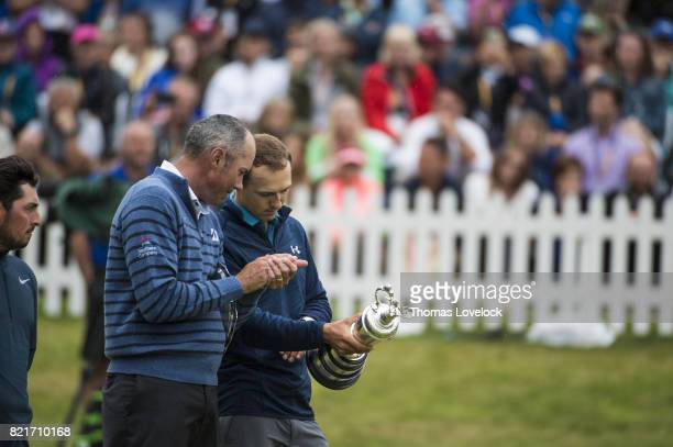 British Open Jordan Spieth victorious with Matt Kuchar after winning the Open Championships on Sunday play at Royal Birkdale GC Southport England...