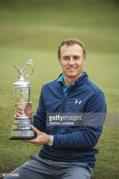 British Open Jordan Spieth victorious with trophy after winning the Open Championships on Sunday at Royal Birkdale GC Southport England 7/23/2017...