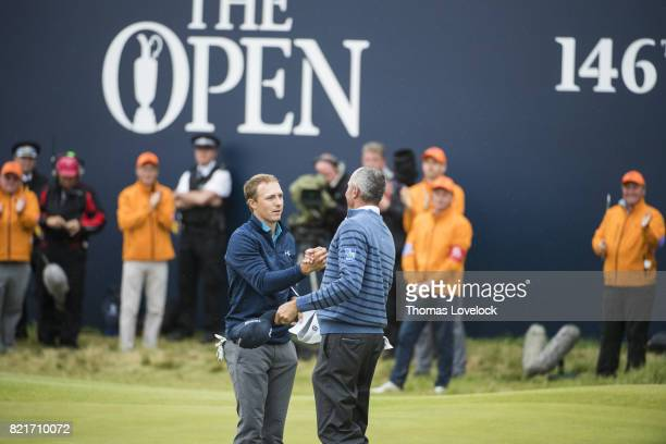 British Open Matt Kuchar congratulates Jordan Spieth at conclusion of tournament during Sunday play at Royal Birkdale GC Southport England 7/23/2017...