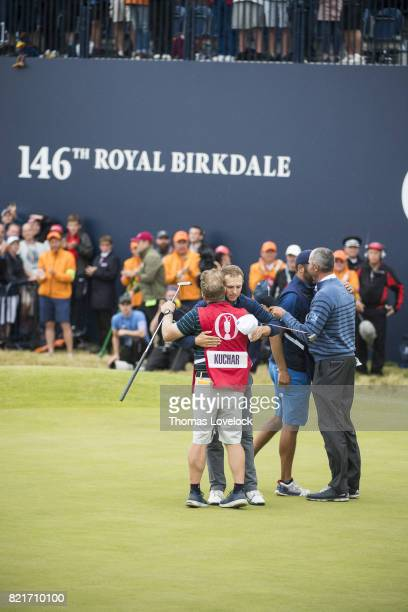 British Open Matt Kuchar congratulates Jordan Spieth during Sunday play at Royal Birkdale GC Southport England 7/23/2017 CREDIT Thomas Lovelock