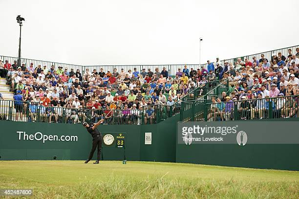 British Open Scenic view of Adam Scott in action drive from No 1 tee during Sunday play at Royal Liverpool GC Hoylake England 7/20/2014 CREDIT Thomas...