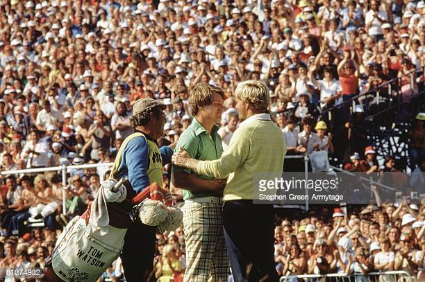 Golf British Open Tom Watson and Jack Nicklaus embrace after tournament on Sunday at Turnberry GC Ailsa GBR 7/10/1977