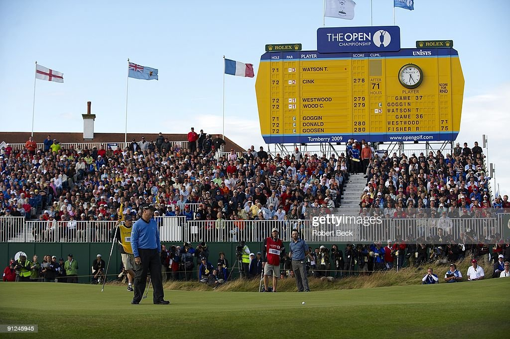 British Open Tom Watson upset after missing putt on No 18 during Sunday play at Ailsa Course of Turnberry Resort View of leader board South Ayrshire...