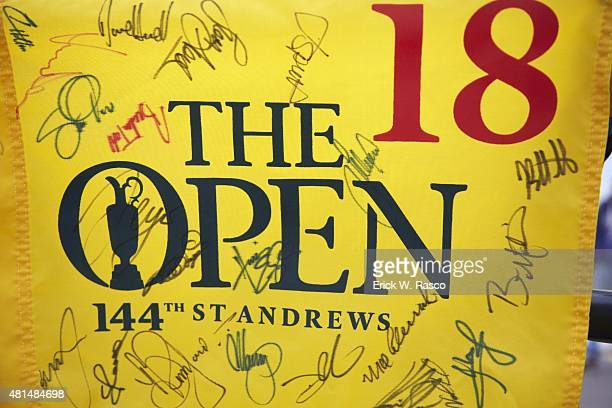 British Open View of No 18 pin flag with player's signatures before Round Three on Sunday at Old Course St Andrews Scotland 7/19/2015 CREDIT Erick W...