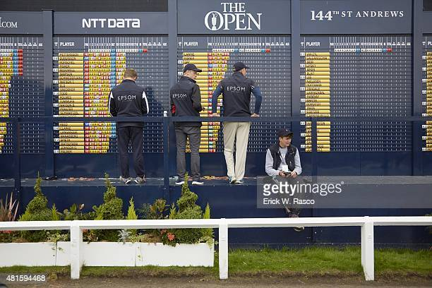 British Open View of numbers being posted on leaderboard by tournament officials during Thursday play at Old Course St Andrews Scotland 7/16/2015...