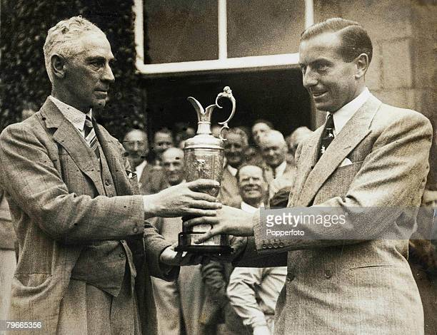 Golf Carnoustie Scotland British golf Champion Henry Cotton receives the British Open trophy from Mr Wright after winning the tournament at Carnoustie