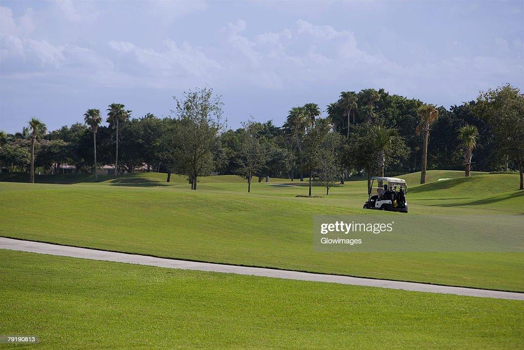 Golf cart in a golf course : Foto de stock