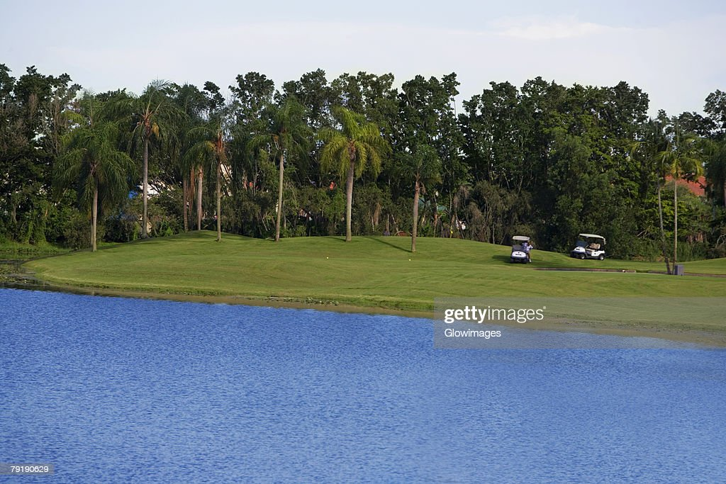 Golf carts in a golf course : Stock Photo