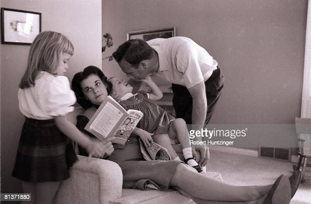 Golf Casual portrait of Arnold Palmer with wife Winnie and daughters at home Latrobe PA 11/9/1960