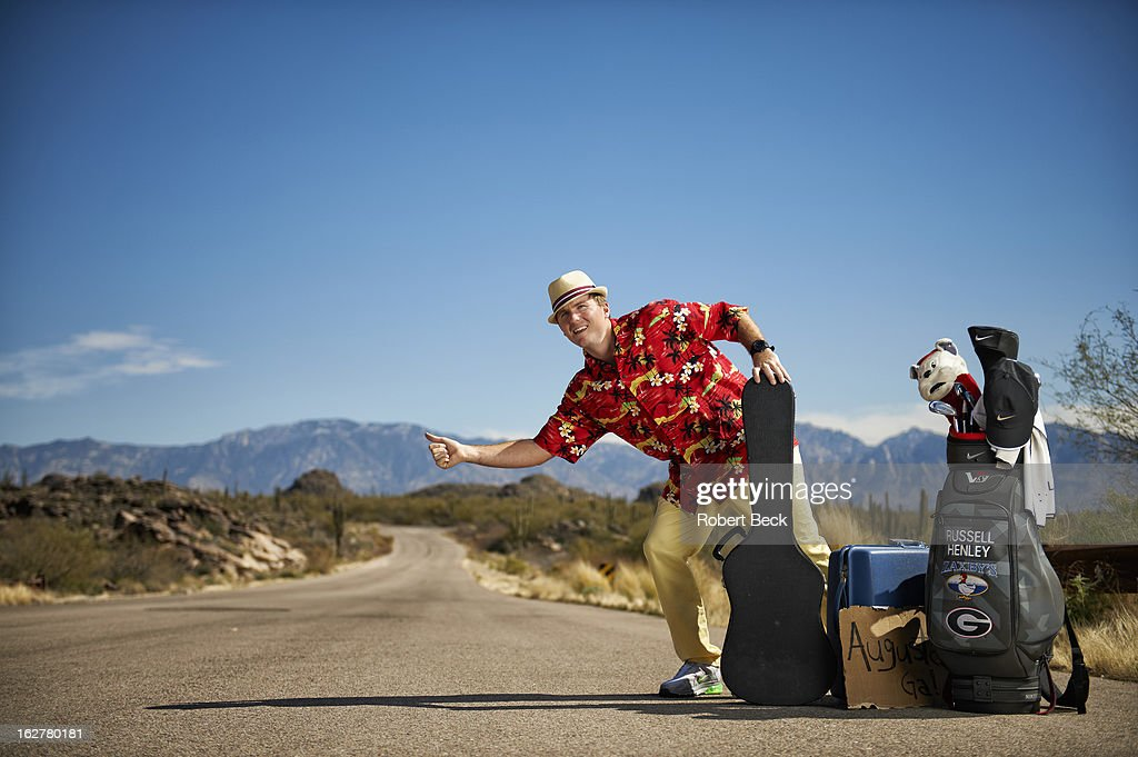 Casual portrait of PGA Tour rookie Russell Henley during photo shoot on the side of a road. Robert Beck F71 )