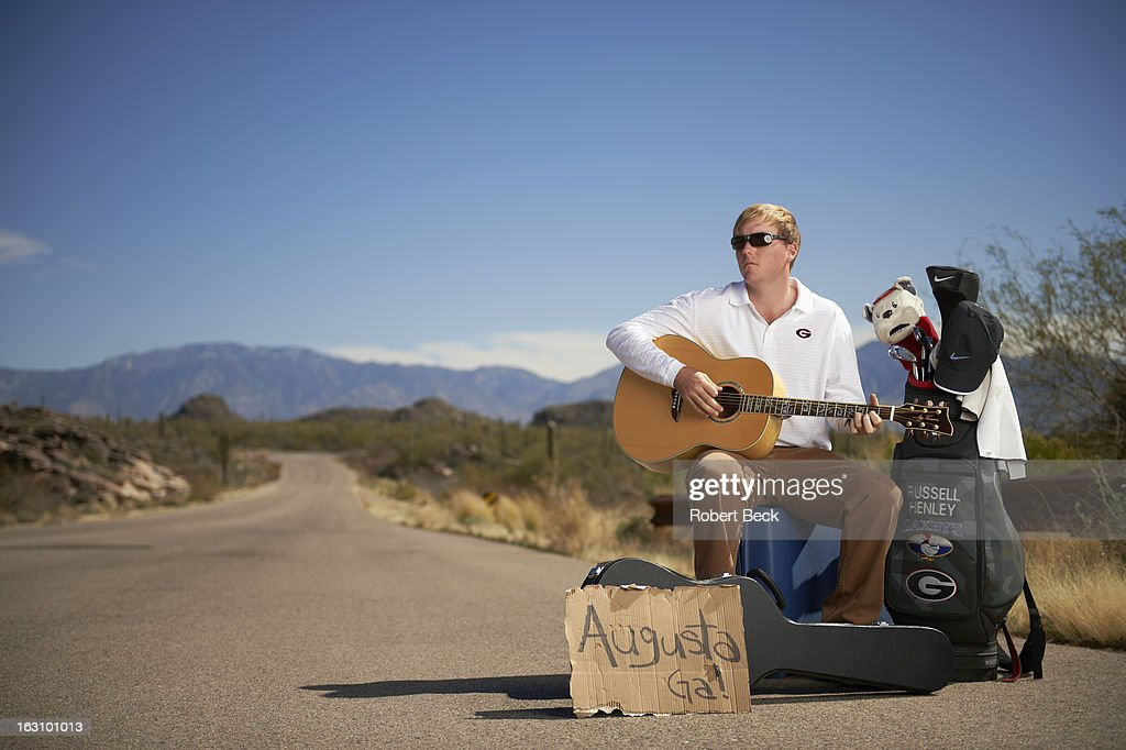 Casual portrait of PGA Tour rookie Russell Henley during photo shoot on the side of a road. Robert Beck F14 )