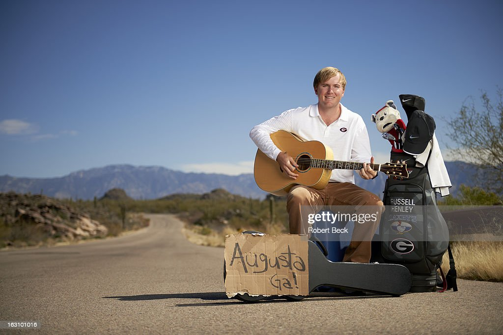 Casual portrait of PGA Tour rookie Russell Henley during photo shoot on the side of a road. Robert Beck F34 )