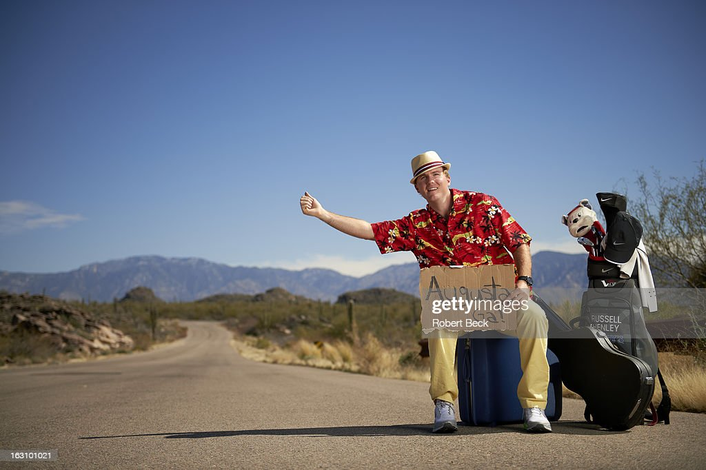 Casual portrait of PGA Tour rookie Russell Henley during photo shoot on the side of a road. Robert Beck F42 )