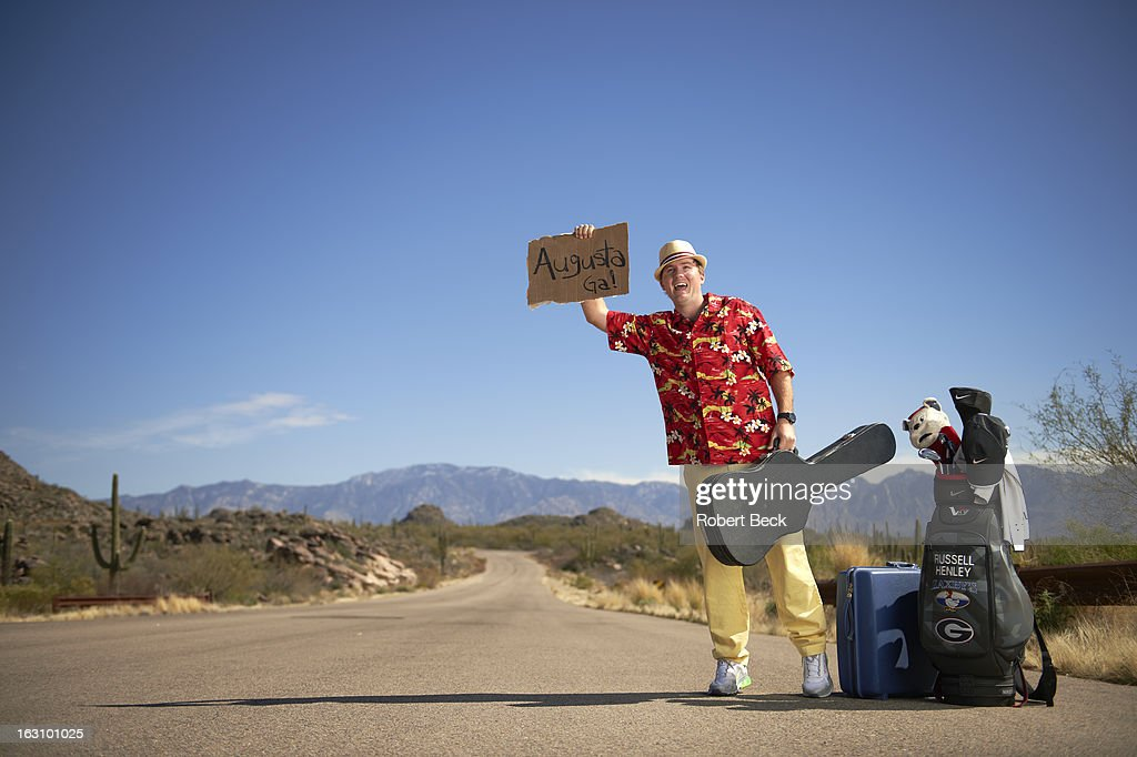 Casual portrait of PGA Tour rookie Russell Henley during photo shoot on the side of a road. Robert Beck F61 )