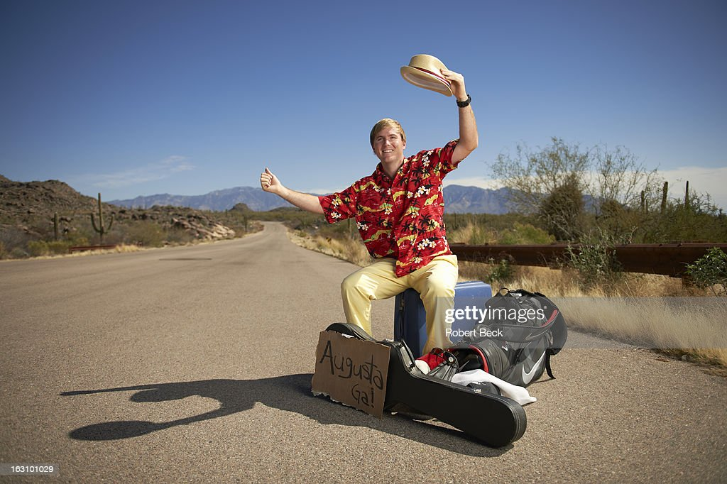 Casual portrait of PGA Tour rookie Russell Henley during photo shoot on the side of a road. Robert Beck F110 )