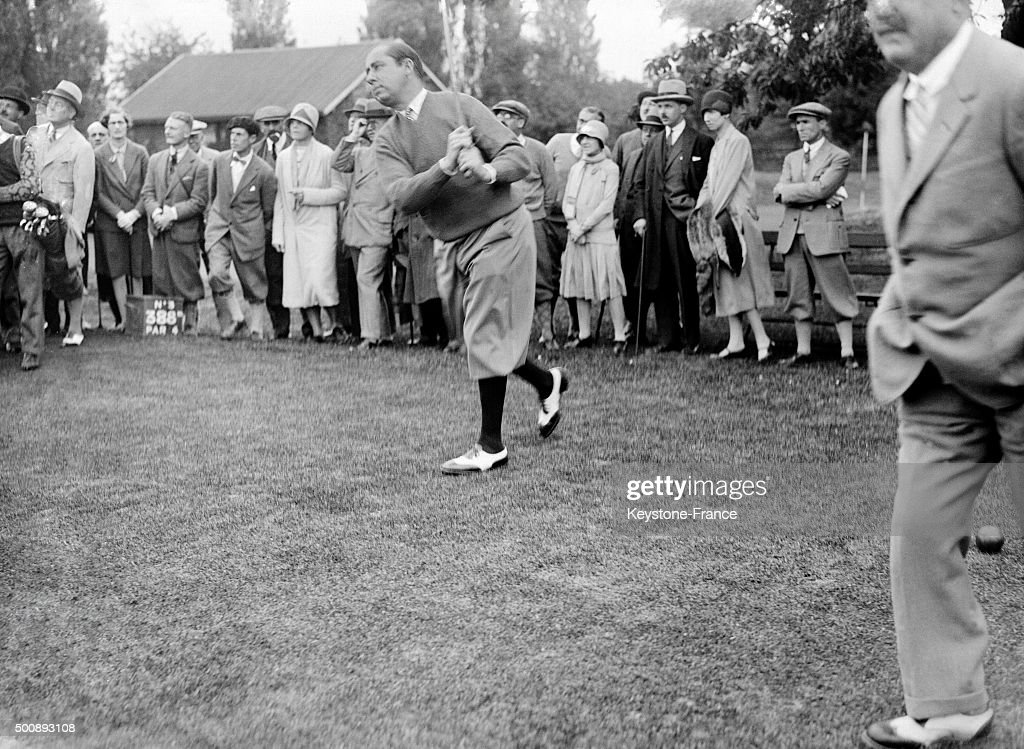 Golf champion American Walter Hagen playing on the golf course of Saint-Cloud in 1928 in Saint-Cloud, France.
