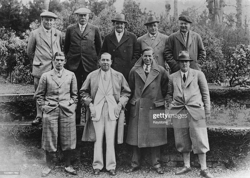 Golf championships at Muirfield, Scotland, 1929. From left to right, (back row) Harry Vardon (1870 - 1937), James Braid (1870 - 1950), Sandy Herd (1868 - 1944), Jack White (1873 - 1949), and Arnaud Massy (1877 - 1950); (front row), George Duncan, Walter Hagen (1892 - 1969), Jim Barnes (1886 - 1966) and Edward Ray (1877 - 1943).