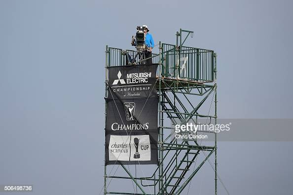 KA'UPULEHUKONA HI JANUARY 23 A Golf Channel camera captures the action on the 12th green during the final round of the PGA TOUR Champions Mitsubishi...